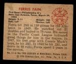 1950 Bowman #13  Ferris Fain  Back Thumbnail