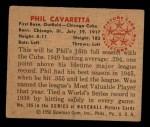 1950 Bowman #195  Phil Cavarretta  Back Thumbnail