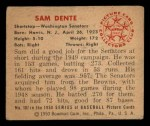 1950 Bowman #107  Sam Dente  Back Thumbnail