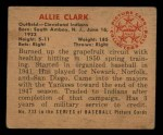 1950 Bowman #233  Allie Clark  Back Thumbnail