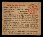 1950 Bowman #34  Murry Dickson  Back Thumbnail