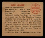 1950 Bowman #207 CPR Max Lanier  Back Thumbnail