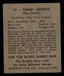 1948 Bowman #19  Tommy Henrich  Back Thumbnail