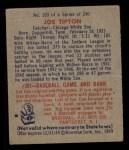 1949 Bowman #103  Joe Tipton  Back Thumbnail