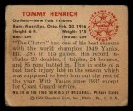 1950 Bowman #10  Tommy Henrich  Back Thumbnail
