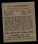 1948 Bowman #14  Allie Reynolds  Back Thumbnail