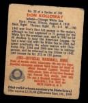 1949 Bowman #28  Don Kolloway  Back Thumbnail
