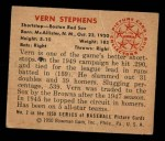 1950 Bowman #2  Vern Stephens  Back Thumbnail