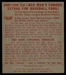 1953 Red Man #15 AL Joe Dobson  Back Thumbnail