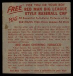 1955 Red Man #25 AL x Sandy Consuegra  Back Thumbnail