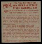 1955 Red Man #2 AL x Jim Busby  Back Thumbnail