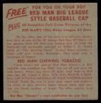 1955 Red Man #6 AL x Jack Harshman  Back Thumbnail