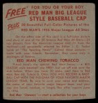 1955 Red Man #17 AL x Joe Coleman  Back Thumbnail