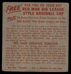 1955 Red Man #20 AL x Pete Runnels  Back Thumbnail