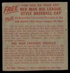 1955 Red Man #10 AL x Bob Porterfield  Back Thumbnail