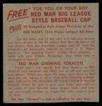 1955 Red Man #14 AL x Early Wynn  Back Thumbnail