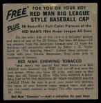 1954 Red Man #13 NL x Roy Campanella  Back Thumbnail