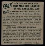1954 Red Man #19 AL x Chico Carrasquel  Back Thumbnail