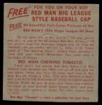 1955 Red Man #22 AL x Hank Bauer  Back Thumbnail