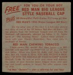 1955 Red Man #23 AL x Chico Carrasquel  Back Thumbnail