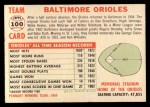 1956 Topps #100 D55  Orioles Team Back Thumbnail
