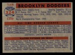 1957 Topps #324   Dodgers Team Back Thumbnail