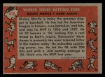 1958 Topps #418   -  Mickey Mantle / Hank Aaron World Series Batting Foes   Back Thumbnail