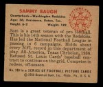 1950 Bowman #100  Sammy Baugh  Back Thumbnail