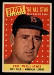 1958 Topps #485   -  Ted Williams All-Star Front Thumbnail