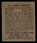 1948 Bowman #47  Bobby Thomson  Back Thumbnail
