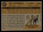 1960 Topps #547  Bob Aspromonte  Back Thumbnail