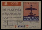 1952 Topps Wings #46   XF4D Skyray Back Thumbnail