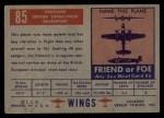 1952 Topps Wings #85   Viscount Back Thumbnail