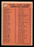 1966 Topps #224   -  Jim Grant / Jim Kaat / Mel Stottlemyre AL Pitching Leaders Back Thumbnail