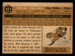 1960 Topps #211  Taylor Phillips  Back Thumbnail