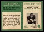 1966 Philadelphia #135  Tim Brown  Back Thumbnail