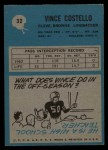 1964 Philadelphia #32  Vince Costello     Back Thumbnail