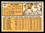 1963 Topps #293  Bill Pleis  Back Thumbnail