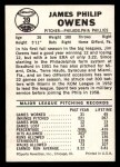 1960 Leaf #39  Jim Owens  Back Thumbnail