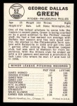 1960 Leaf #52  Dallas Green   Back Thumbnail