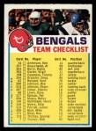 1973 Topps Football Team Checklists #5   Cincinnati Bengals Front Thumbnail