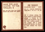 1967 Philadelphia #143  Jim Skaggs  Back Thumbnail