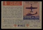 1952 Topps Wings #6   AT-7 Navigator Back Thumbnail