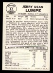 1960 Leaf #47  Jerry Lumpe  Back Thumbnail