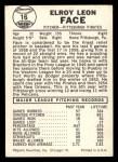 1960 Leaf #16  Roy Face  Back Thumbnail