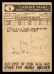 1959 Topps #8  Clarence Peaks  Back Thumbnail