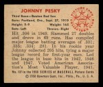 1950 Bowman #137  Johnny Pesky  Back Thumbnail