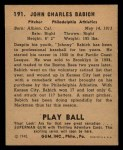 1940 Play Ball #191  John Babich  Back Thumbnail
