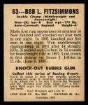 1948 Leaf #63  Bob Fitzsimmons  Back Thumbnail