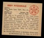 1950 Bowman #178  Ed Fitzgerald  Back Thumbnail